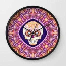 Cute Sugar Skull - Day of the Dead Skull Art by Thaneeya McArdle Wall Clock