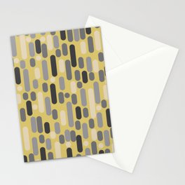 Morningside Heights Midcentury Modern Pattern in Retro Gray, Cream, and Yellow Stationery Cards