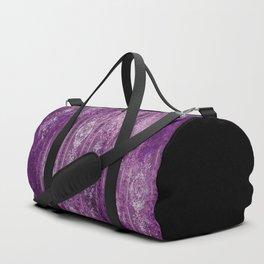 Damask - Aged - Purples - Boho - White - Brutalized Art Duffle Bag