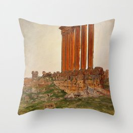 Frederic Edwin Church - Ruins Of The Temple Of Zeus, Baalbek - Digital Remastered Edition Throw Pillow