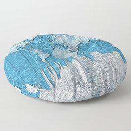 world map city skyline 10 Floor Pillow