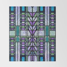 Aqua and Green Art Deco Stained Glass Design Throw Blanket