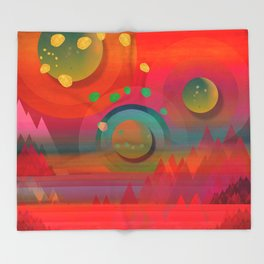 """Sci-fi Pop Landscape"" Throw Blanket"