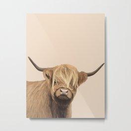 Cream Highland Cow Metal Print