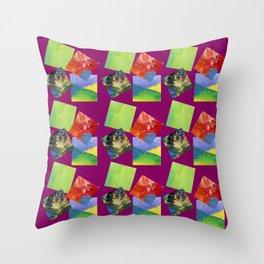 Painted Squares Jiggle - Plum Throw Pillow