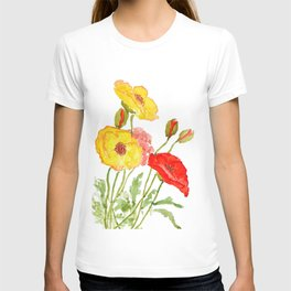 red and yellow  poppies T-shirt