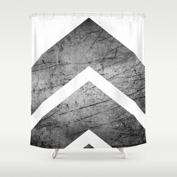 Grey And White Modern Geometric Grunge Chevrons Shower Curtain