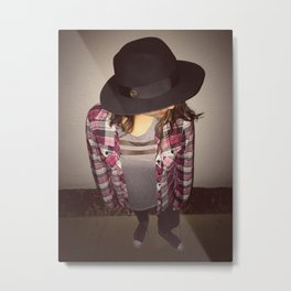 the lady in the fedora  Metal Print