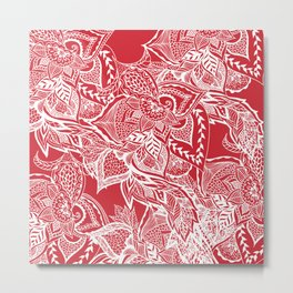 Modern red flame scarlet white hand drawn floral mandala pattern Metal Print