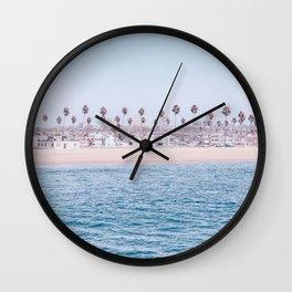 Vintage Newport Beach Print {3 of 4} | Photography Ocean Palm Trees Cool Blue Tropical Summer Sky Wall Clock