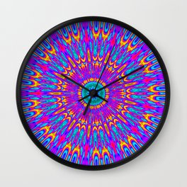 Happy Colors Explosion Psychedelic Mandala Wall Clock