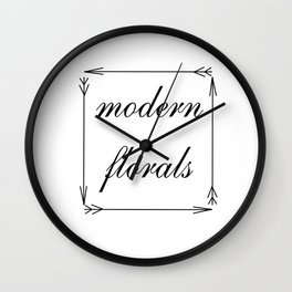 Modern Florals and Arrows Wall Clock