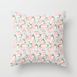 Pink Roses on Blue Polka Dots Throw Pillow
