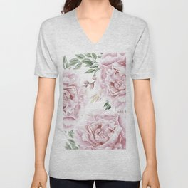 Girly Pastel Pink Roses Garden Unisex V-Neck