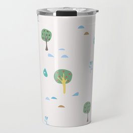 Summer Seamless Pattern with trees, sun, drops of rain, flowers, berries Travel Mug