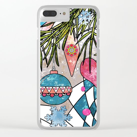 Vintage Christmas illustration . 1 . New year Clear iPhone Case