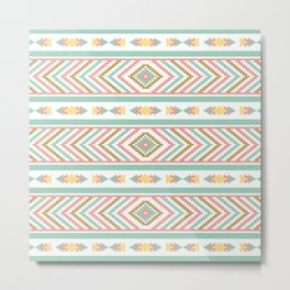 Abstract Tribal Native Geometric Pattern - Bohemian Festival Colorful Metal Print