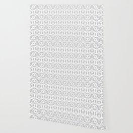 Decorative Plumes - White on Pale Grey Wallpaper