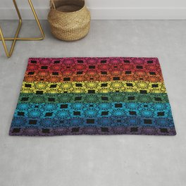 Pride Flag Overlayed with a Flower Doodle Graphic  Design Rug