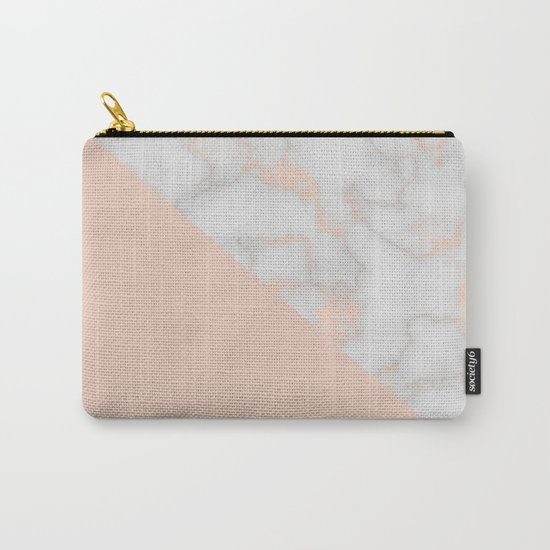 Rose gold marble and soft blush pink Carry-All Pouch