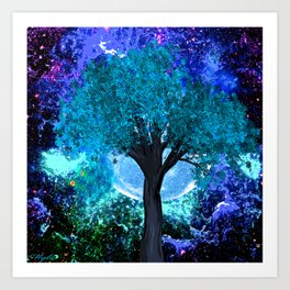 TREE MOON NEBULA DREAM Art Print
