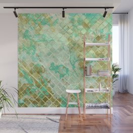Turquoise & Gold marble mosaic Wall Mural