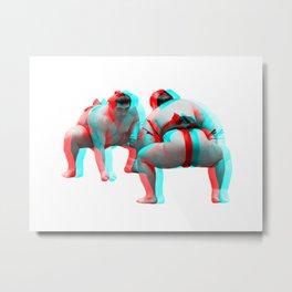 3D Sumo Wrestlers Metal Print