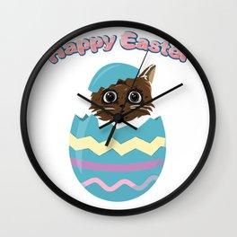 Easter Egg Cat Wall Clock