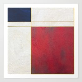 Blue, Red And White With Golden Lines Abstract Painting Art Print