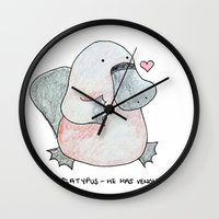 platypus Wall Clocks featuring Platypus by Daynasdoodleydoos