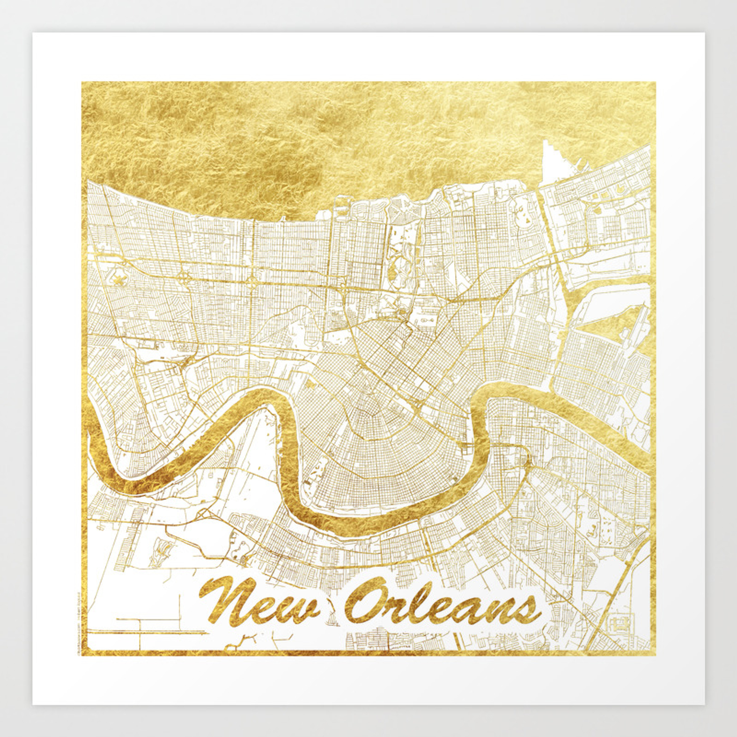 New Orleans Map Gold Art Print