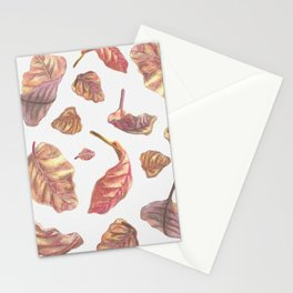 Falling Autumn Leaves Colored Pencil Drawing Autumn Colours Stationery Cards