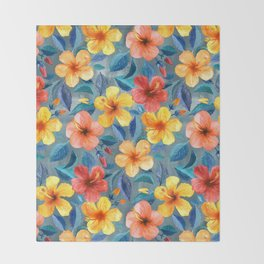 Colorful Watercolor Hibiscus on Grey Blue Throw Blanket