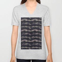 Seamless distressed glitch blur woven texture. Unisex V-Neck