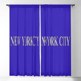 New York City (type in type on blue) Blackout Curtain