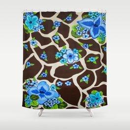 Floral giraffe print Shower Curtain