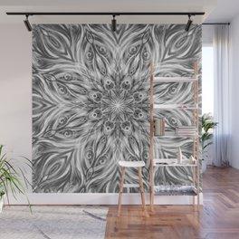 Gray Center Swirl Mandala Wall Mural