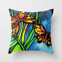 Beautiful Monarch Butterflies Fluttering Over Palm Fronds by annmariescreations Throw Pillow