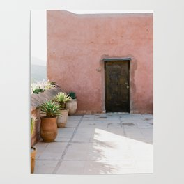 Magical Morocco - Ourika | Coral colored house and wooden door in the atlas mountains Poster