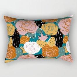 Painterly Dotted Desert Roses Rectangular Pillow