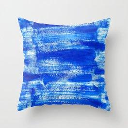 Cool & Calming Cobalt Blue Paint on White  Throw Pillow