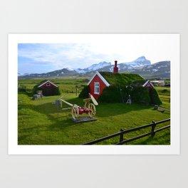 Lindarbakki Turf House in Borgarfjörður-Eystri in East-Iceland Art Print