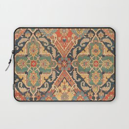 Geometric Leaves VIII // 18th Century Distressed Red Blue Green Colorful Ornate Accent Rug Pattern Laptop Sleeve