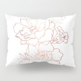 Peony Blossoms Vertical - Rose Gold Pillow Sham
