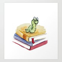 bookworm Art Prints featuring Bookworm by Melissa Wright