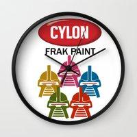 battlestar Wall Clocks featuring Cylon Frak Paint by Don Calamari