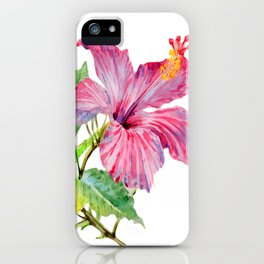 Tropical Pink Hibiscus Watercolor iPhone Case