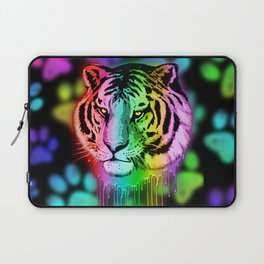 Tiger Neon Dripping Rainbow Colors Laptop Sleeve