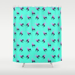 Pink elk silhouettes against turquoise green background pattern design Shower Curtain