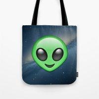 emoji Tote Bags featuring Alien Emoji by Nolan Dempsey